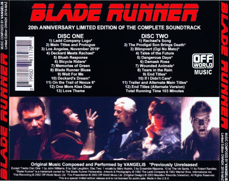 Vangelis - Blade Runner OWM (20th anniversary) - back